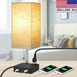 MOICO Bedside Modern Table Nightstand Lamp w/ 2 USB Charging
