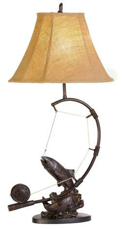Fly Rod Trout Fish Table Lamp Fishing Rustic Cabin Lake Lodg
