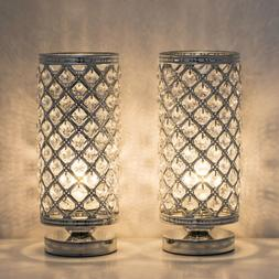 2PCS Crystal Table Lamp Bedside Nightstand Desk Reading Lamp