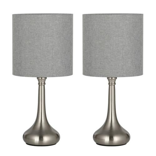 Set of 2 Bedside Table Lamps Gray Line Fabric Lampshade Silv