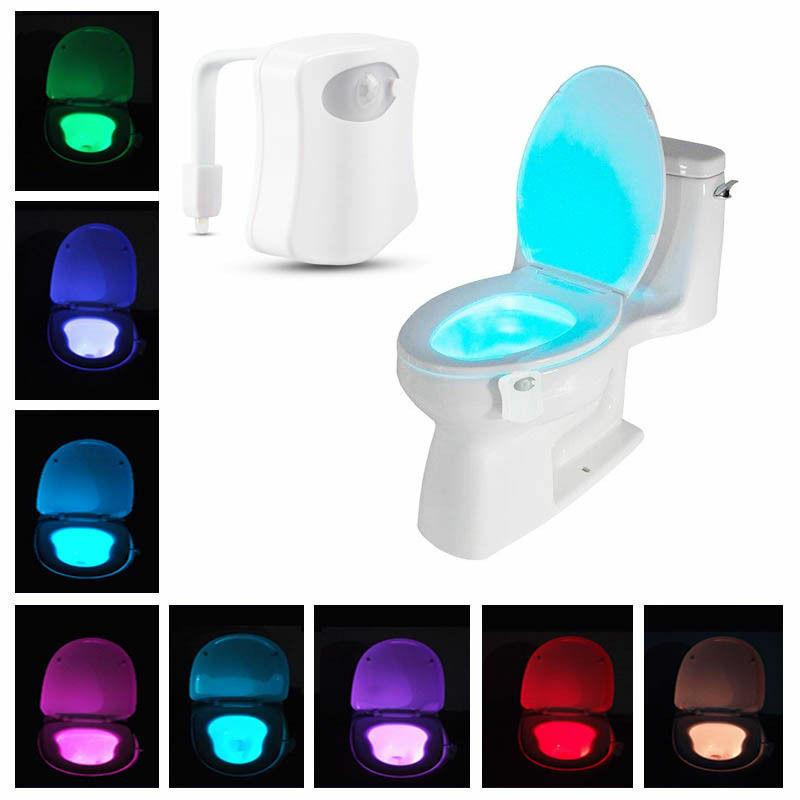 LED Body Motion Activated 8 Color Toilet Bowl Bathroom Kids