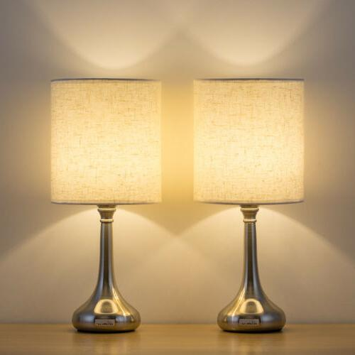 Modern Bedside Table Lamp Set of 2 White Fabric Shade Nights