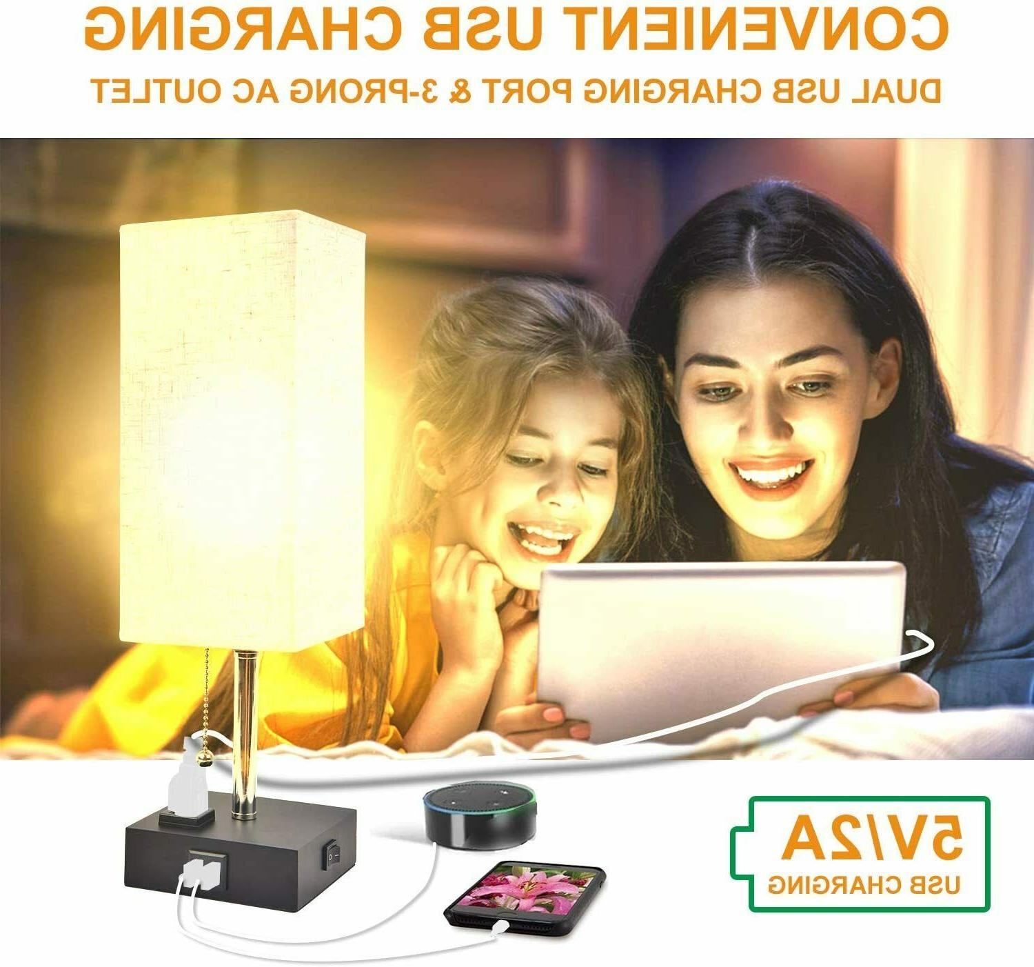 USB Table Lamp, Bedside with USB Warm Bulb Included