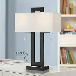 Modern Table Lamp with USB Port Open Rectangular Metal for L