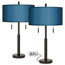 Modern Table Lamps Set of 2 with USB Port Bronze Blue Faux S