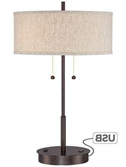 Nikola Bronze Metal Table Lamp with USB Port