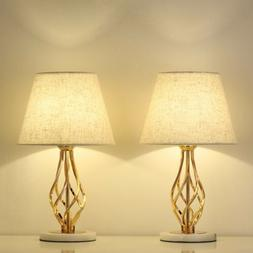 Set of 2 Gold Vintage Nightstand Table Lamps Marble Base & L