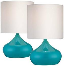 Set of 2 Steel Droplet Teal Blue Small Accent Lamps