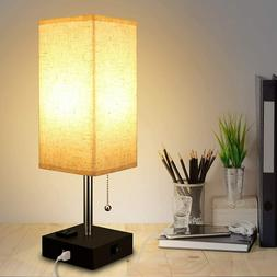 USB Table Lamp, Modern Bedside Lamp with 2 USB Port, Warm LE