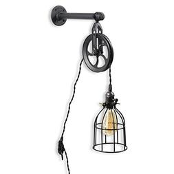Rustic State Vintage Chic Unique Industrial Pipe and Pulley